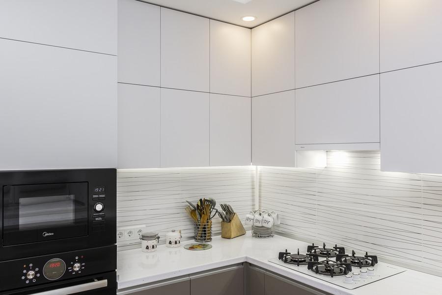 Белый кухонный гарнитур-Кухня МДФ в ПВХ «Модель 9»-фото4