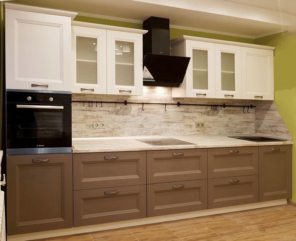 Белый кухонный гарнитур-Кухня из шпона «Модель 25»-фото1