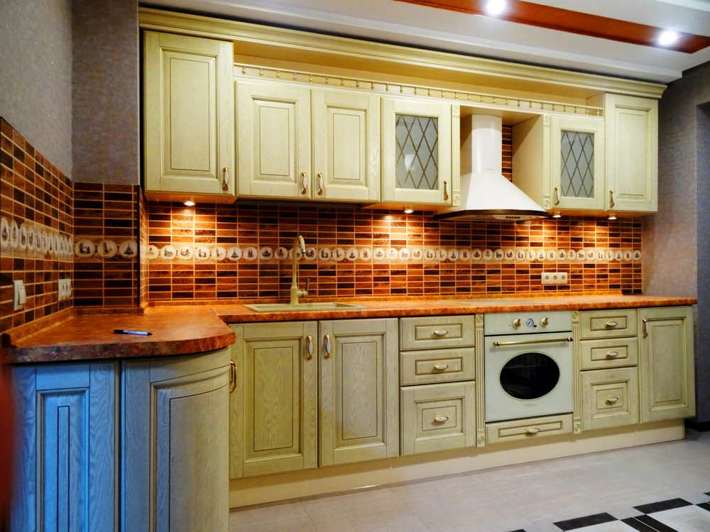 Бежевые кухни-Кухня МДФ в эмали «Модель 301»-фото2