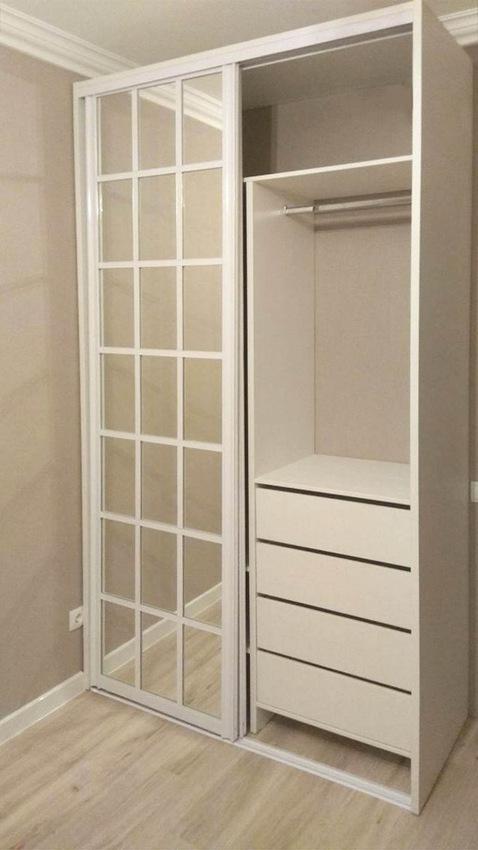 Белые шкафы-купе-Шкаф-купе с зеркалом «Модель 348»-фото2